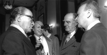 Apartheid John Vorster, Israel's PM Yitzhak Rabin right, and Menachem Begin left, and Moshe Dayan on 1976 visit to Jerusalem